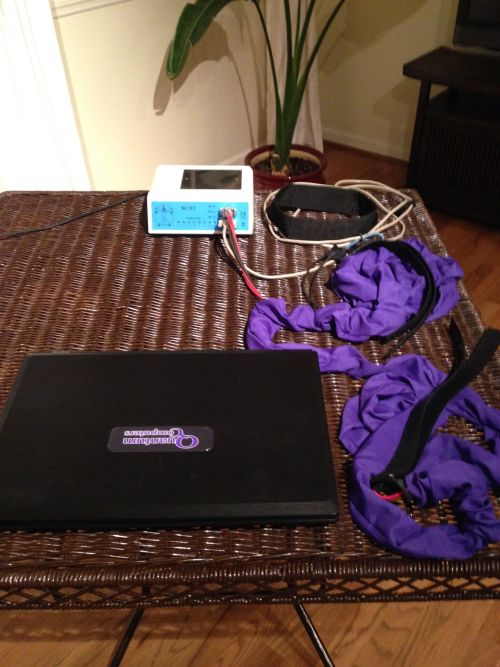 """The Quantum Biofeedback SCIO EPFX, the 17"""" 2013 Quantum Computers laptop, 1 head harness, 2 pairs of 2 wrist/ankle straps (each pair of straps is in a purple cord detangler)"""