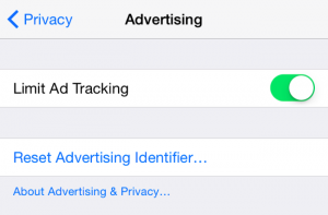 The screen where you limit the ad tracking on your iPhone/iPad/iPod Touch