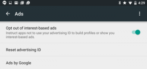 This is where you opt-out of interest-based ads