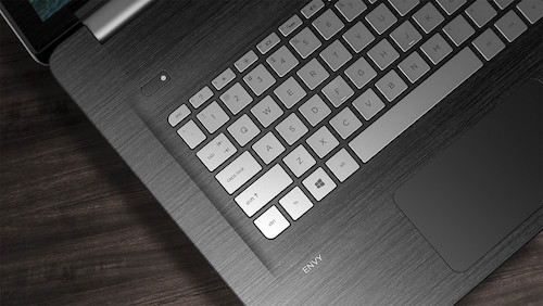 A close-up of the beautiful and sleek keyboard that comes with this HP laptop