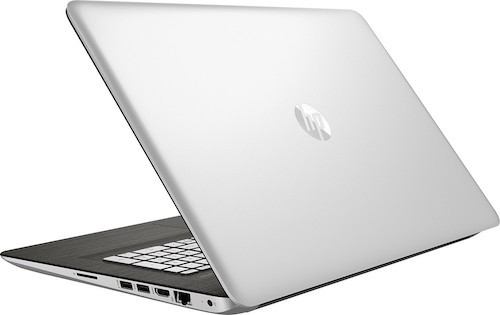 A view from behind this classy HP laptop